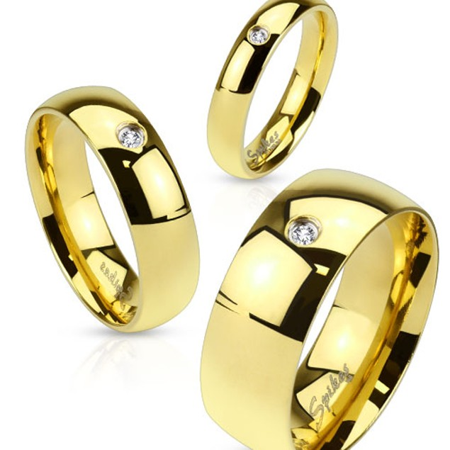 Wedding Band Gold IP Stainless Steel Ring with CZ