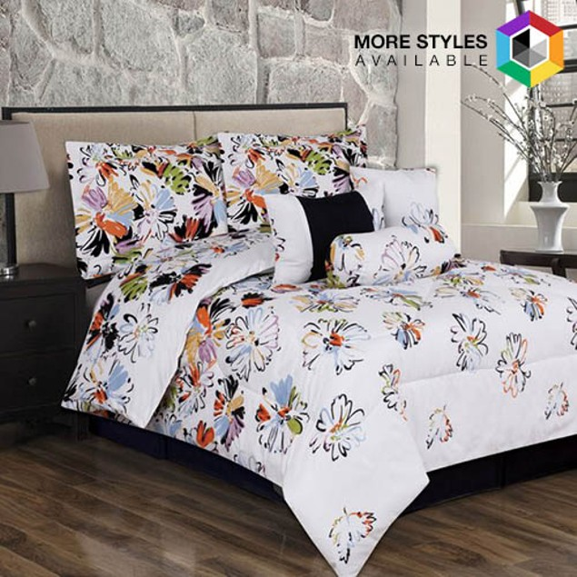 7-Piece Set: Extra-Soft Printed Comforter Collection - Assorted Styles
