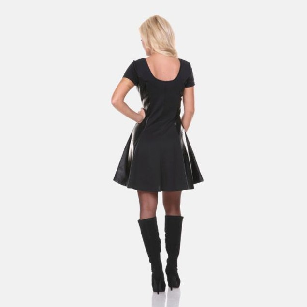 Leather Panel Fit n Flare Dress