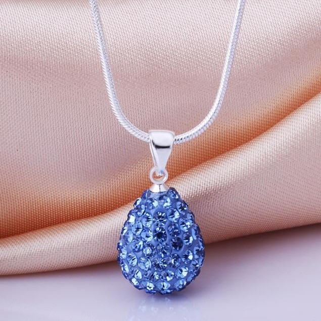 Solid Austrian Stone Pear Necklace - Bright Blue