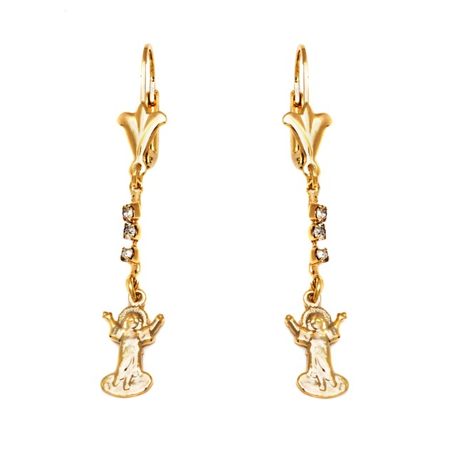 Gold & Simulated Crystal Prayer's Arms Earrings