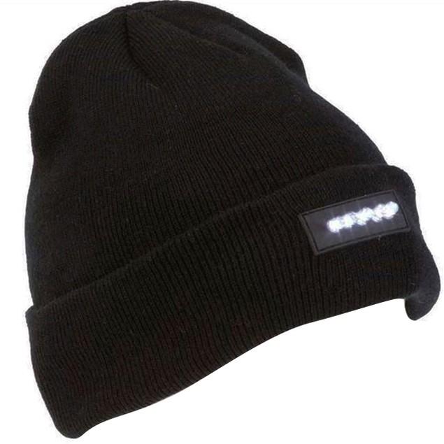 Unisex Knitted Beanie w/ Built-In 5 LED Flashlight