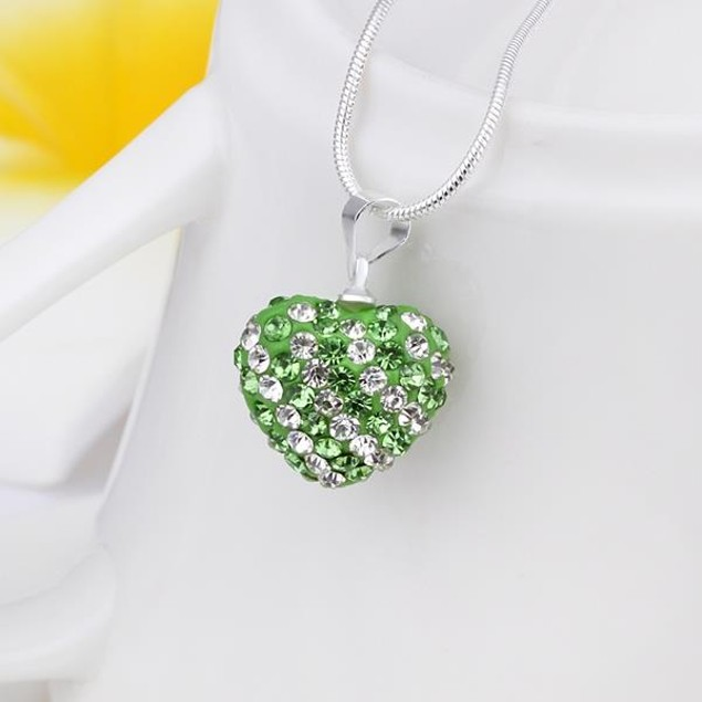 Multi-Toned Austrian Stone Heart Shaped Necklace - Light Green