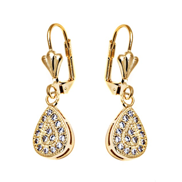 Gold & Crystal Teardrop Earrings