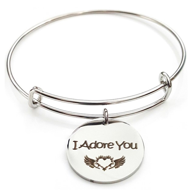 I Adore You Stainless Steel Bangle