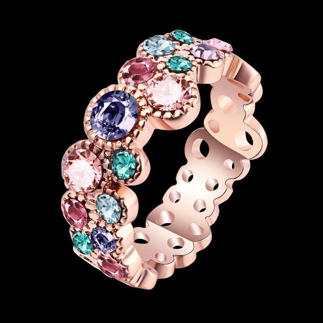 Multi-Color Stone Eternity Ring White Gold-Plated