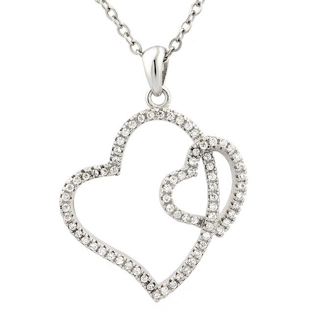 Sterling Silver Double Tilted Simulated Diamond Heart Pendant