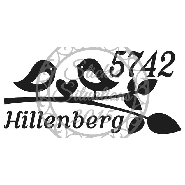 Personalized Birds and Heart Vinyl Mailbox Decal