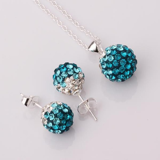 Multi-Pave Earring Studs and Necklace Set - Turquoise Crystal