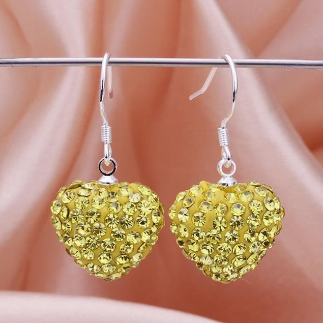 Heart Shaped Solid Austrian Stone Drop Earrings - Bright Yellow Citrine