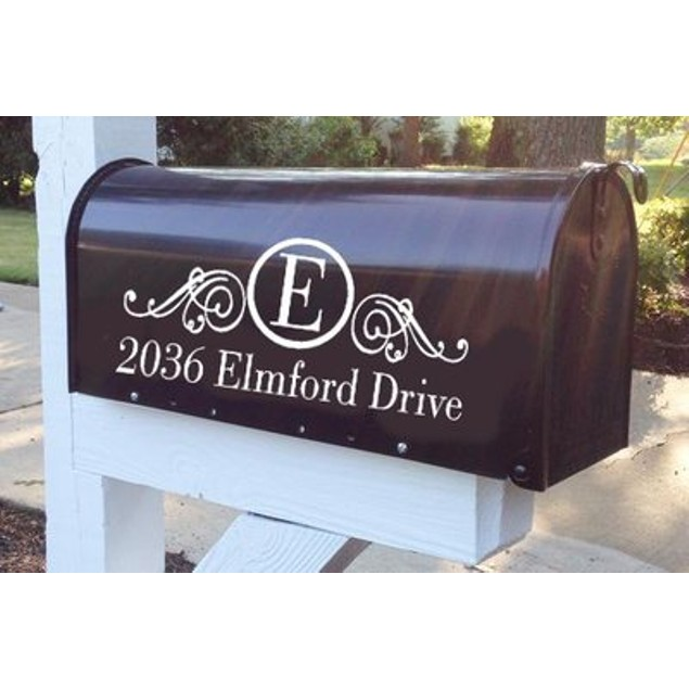 Monogram Scroll Mailbox Decal
