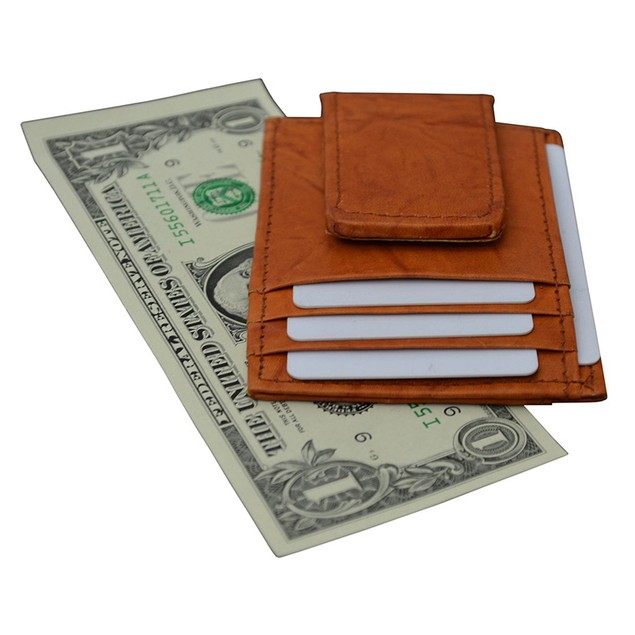 AFONiE Genuine Leather Magnetic Money Clip Wallet