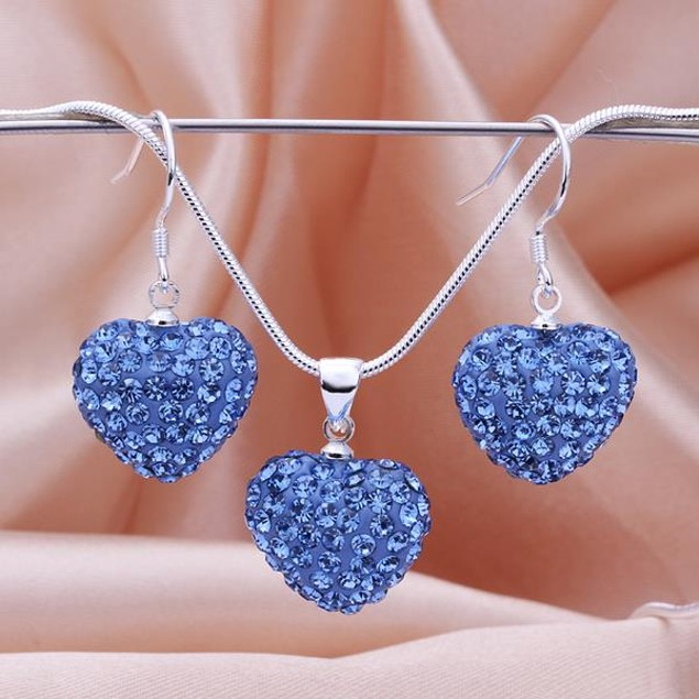 Austrian Stone Solid-Pave Heart Earring and Necklace Set - Blue Crystal