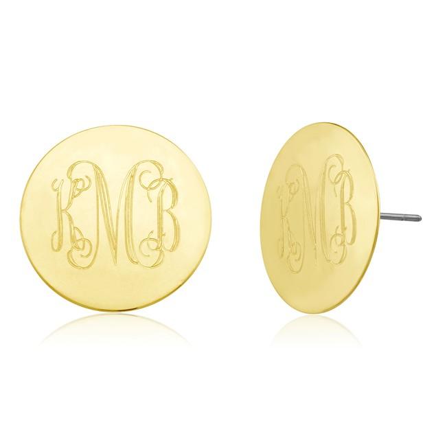 Monogrammed Circle Disc Earrings