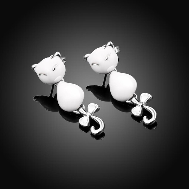 Gold Plated Cat Drop Earrings