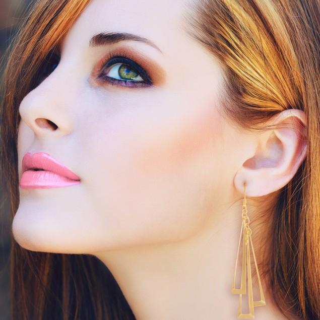 Geometric Gold Tone Dangle Earrings