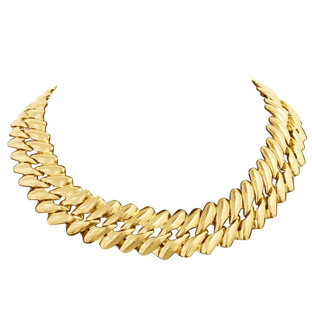 Gold Tone Twisted Chain Necklace, 18 Inches