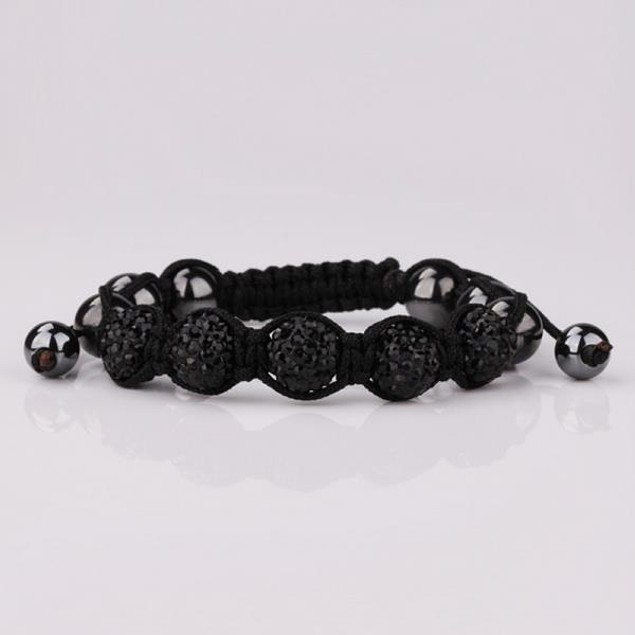80's Glam Five Beads Austrian Crystal Bracelet -Onyx