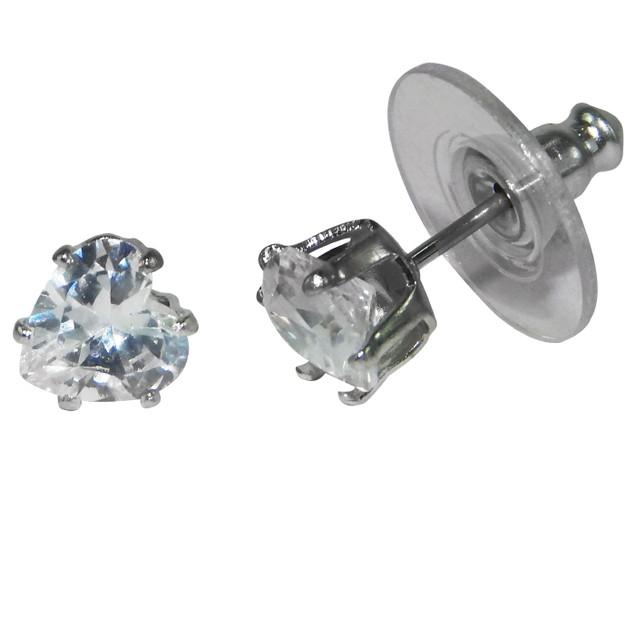 .925 Sterling Silver Heart Cubic Zirconia Stud Earrings
