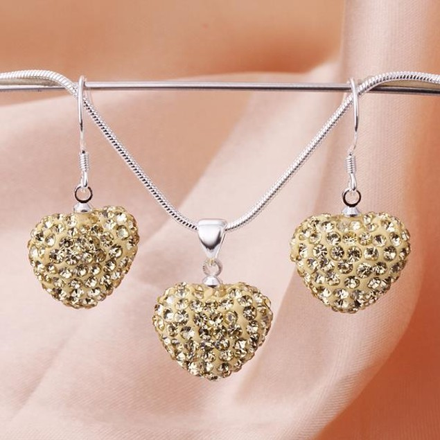 Austrian Stone Solid-Pave Heart Earring and Necklace Set - Golden Crystal