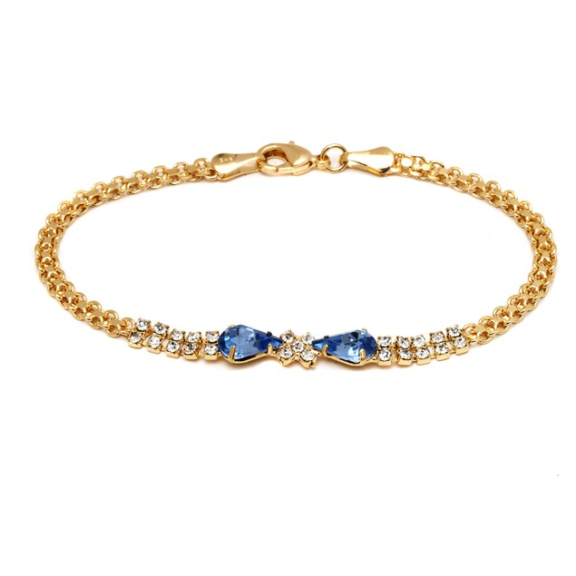 18K Gold & Aqua Crystal Bow Bracelet