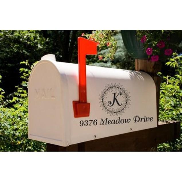 Monogram Leaf Wreath Mailbox Decal