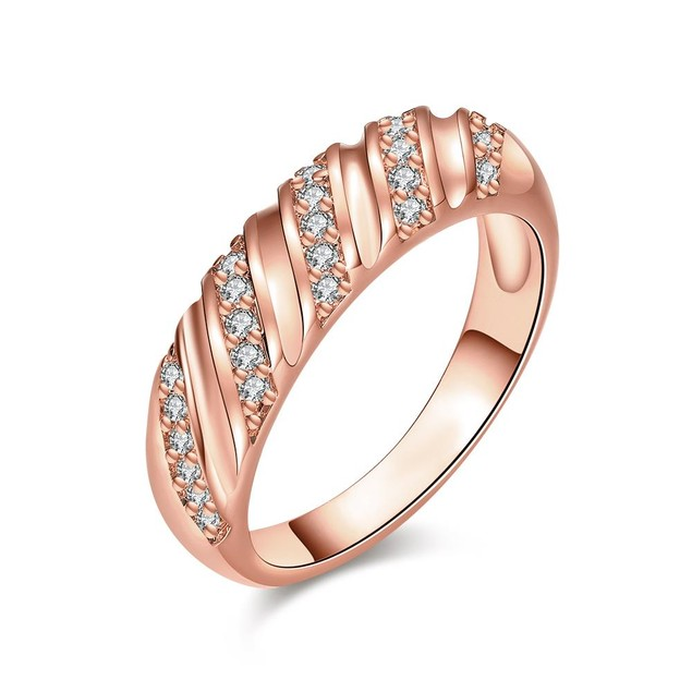 Rose Gold Plated Angular Curved Ring