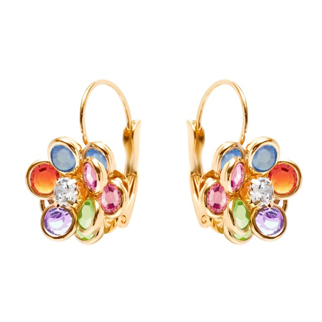 Gold Plated & Multi Color Crystal Flower Huggie Earrings