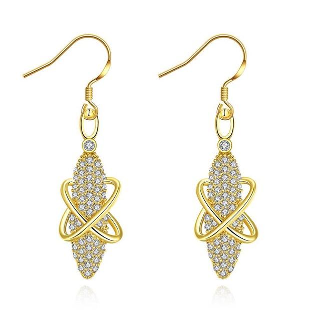 Gold Plated Vertical Gemstone Earrings