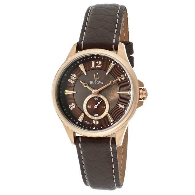 Bulova Watches - Women's Brown MOP & Textured Dial Brown Genuine Leather