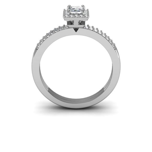1/2 Carat Pave Princess Shape Diamond Bridal Set