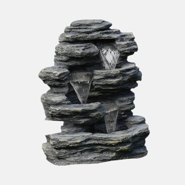 Pure Garden Cascade Rock Outdoor Fountain