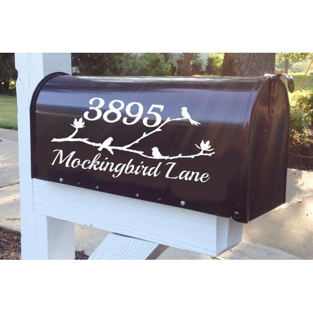 Birds on a Branch Mailbox Decal Design 3