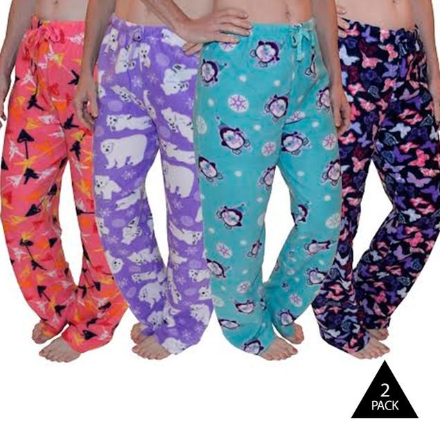 2 Pack: Soft & Cozy Ladies Fleece Pajama Pants