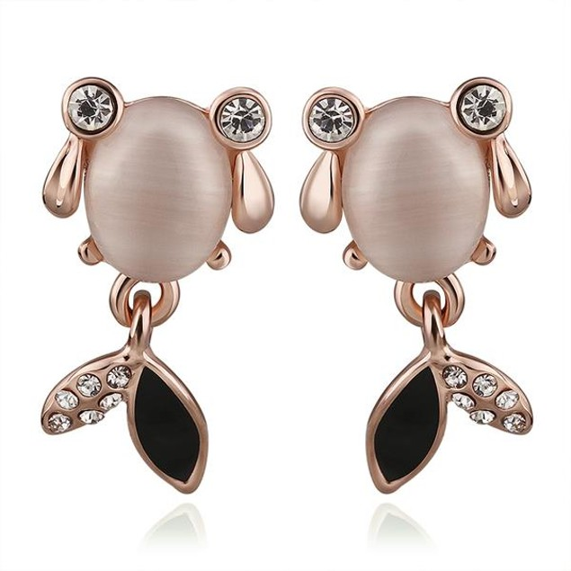 Rose Gold Plated Snapper Fish Earrings