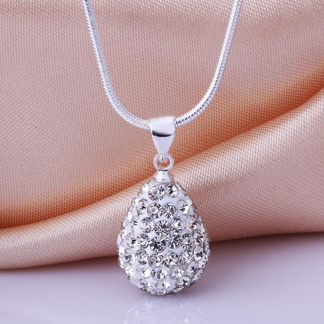 Solid Austrian Stone Pear Necklace - Crystal