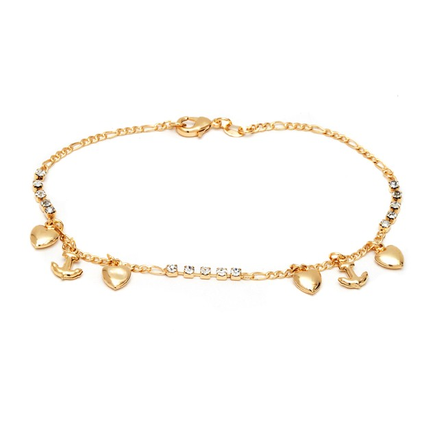 18K Gold and CZ Diamond Heart-Anchor Charm Anklet