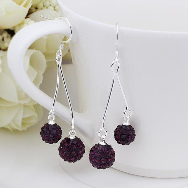 Austrian Stone Drop Earrings -Dark Lavender