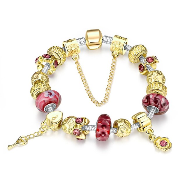 Gold & Milk Ruby Designer Inspired Bracelet