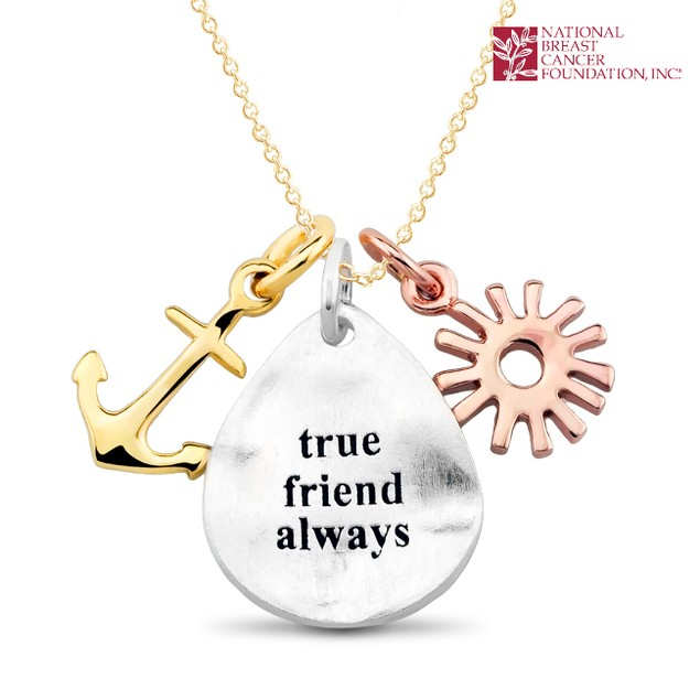 National Breast Cancer Foundation Inspirational Jewelry - Sterling Silver True Friend Always Pendant