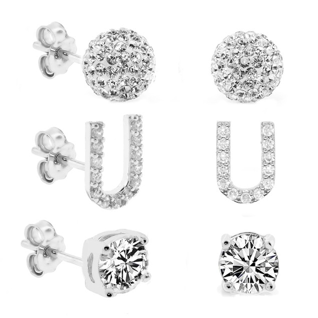 3-Piece Set: Initial Stud Earrings with Swarovski Elements - U