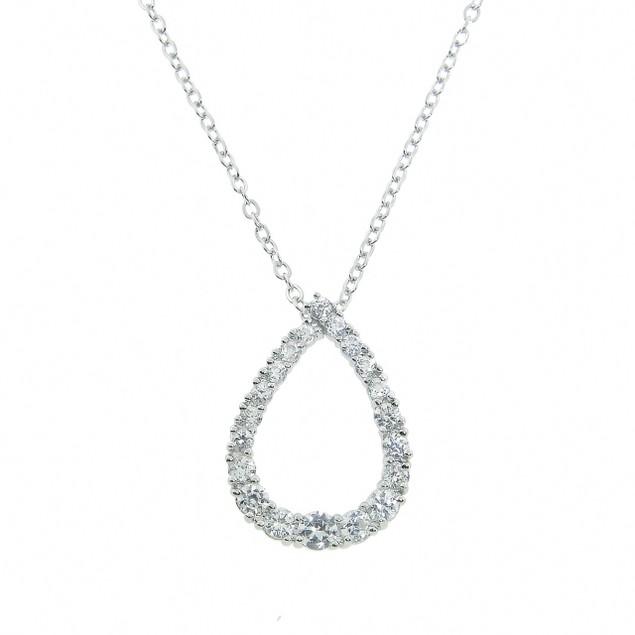 Simulated Diamond Teardrop Pendant - 1.8ct