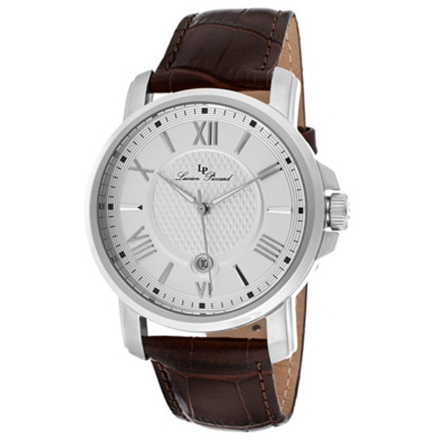 Lucien Piccard Men's Cilindro Silver Dial Brown Genuine Leather