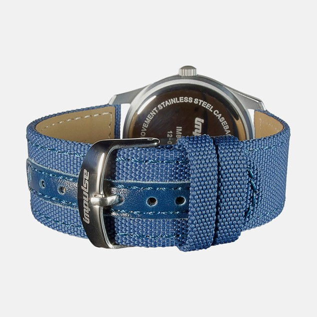 Impulse Mountaineer Bi-Lingual Day/Date Calendar Watch Silver/Blue