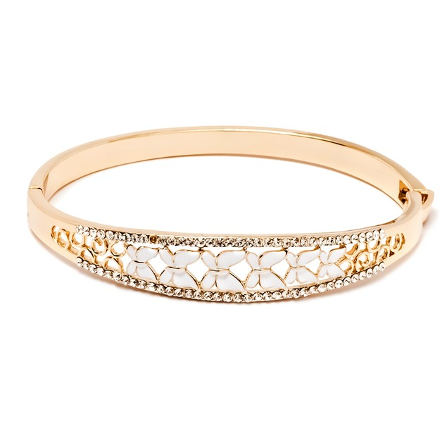 Gold & Crystal White Butterfly Bangle