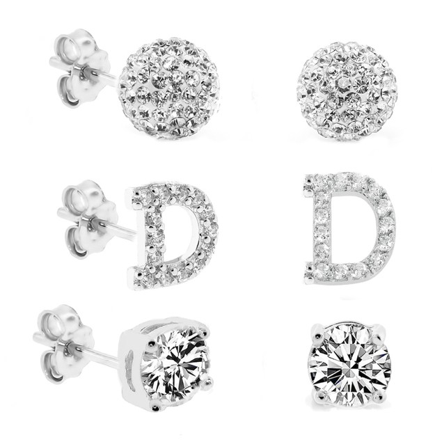 3-Piece Set: Initial Stud Earrings with Swarovski Elements - D