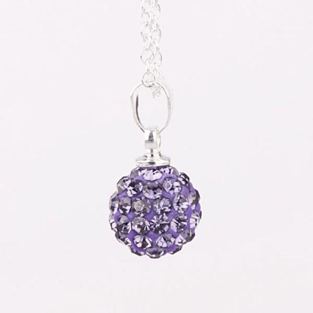 Solid Austrian Stone Pendant - Bright Vivd Lavender