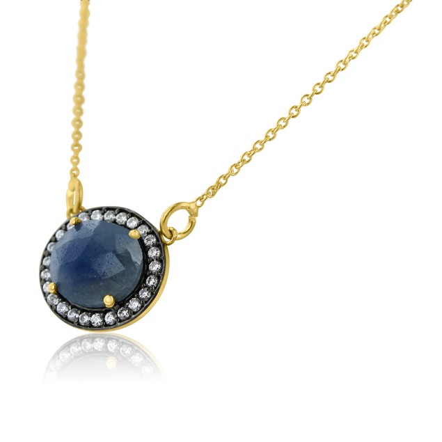 Gold Plated Silver 13ct Natural Blue Sapphire & CZ Necklace