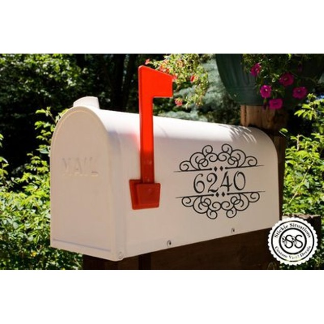 Fancy Split Vinyl Mailbox Decal