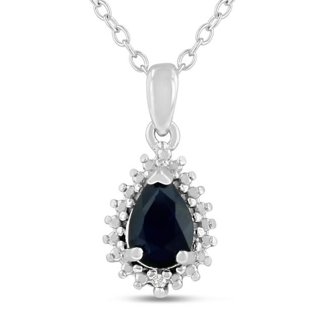 1 Carat Pear Shape Sapphire & Diamond Halo Necklace